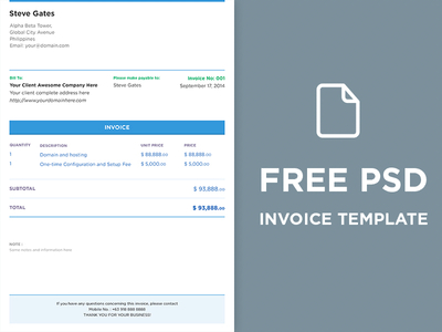 Free Clean Invoice Template PSD