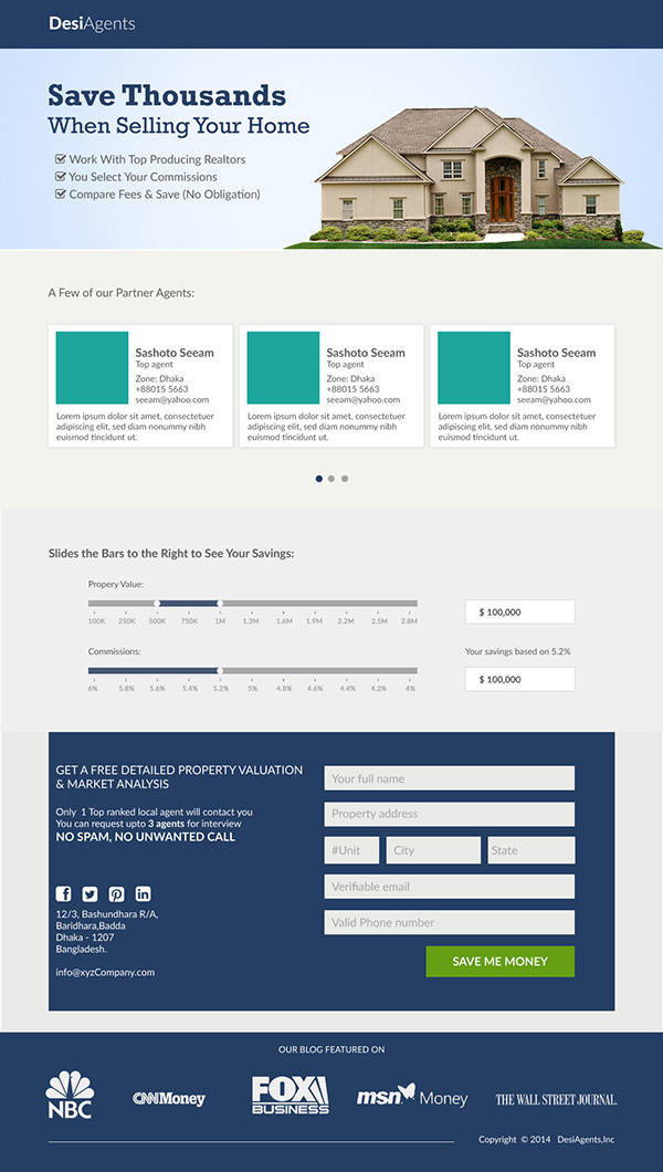 Web Page Layout - Real Estate layout PSD