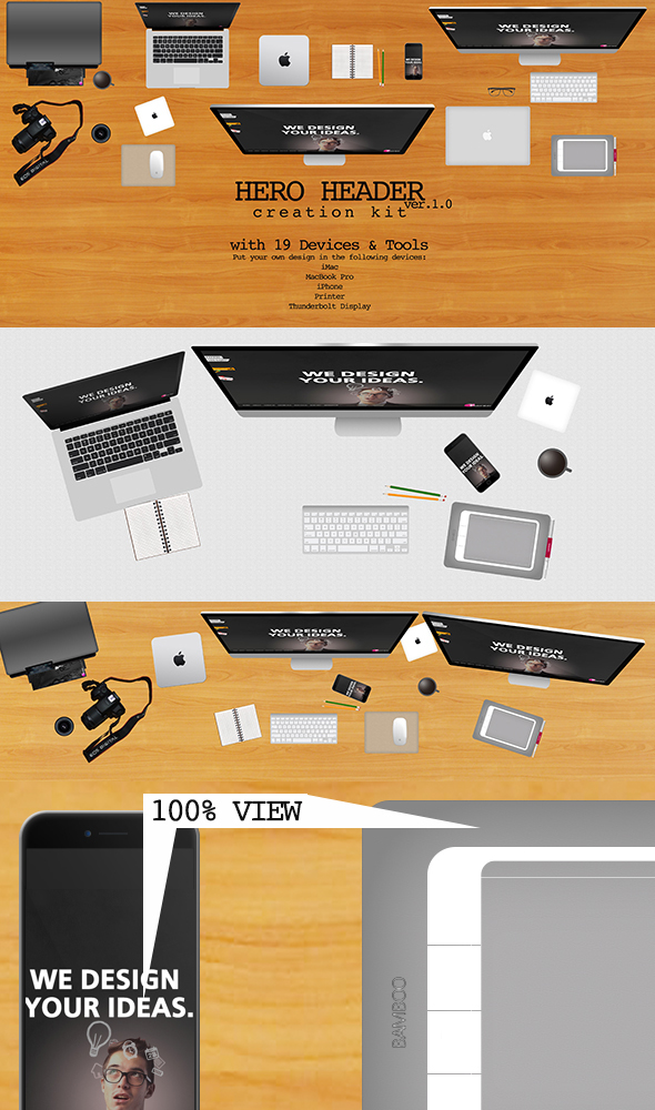 19 Devices & Tool PSD To Represent  Your Designers Desktop