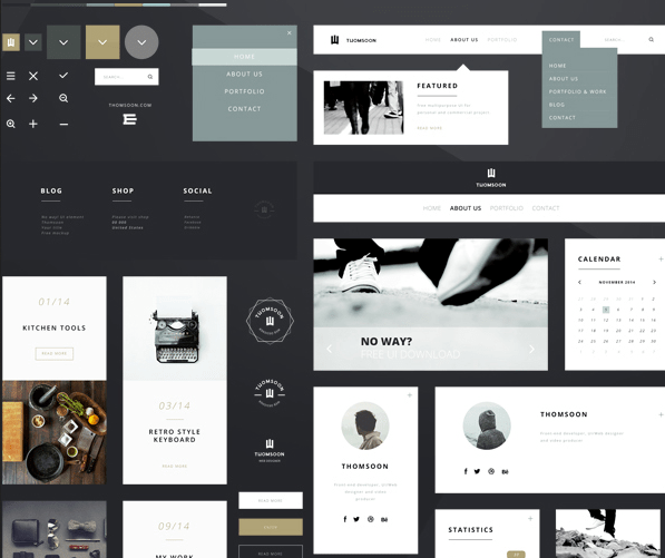 55+ Free Elements UI Kit PSD Download