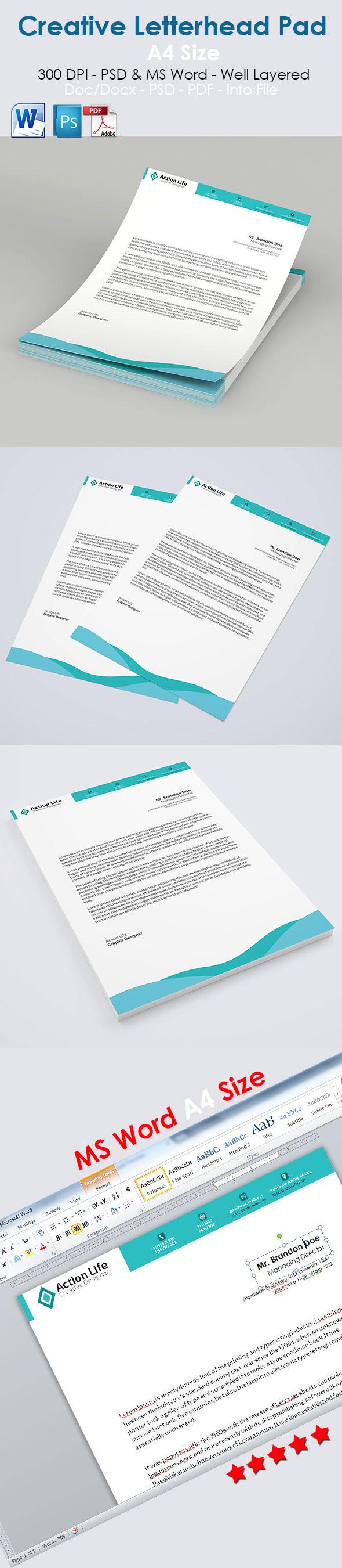 Free Creative A4 Letterhead Template PSD