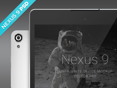 Nexus 9 PSD Lunar White Device Mockup