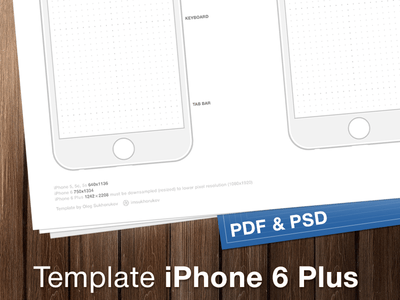 iPhone 6 Wireframes Template PDF & PSD