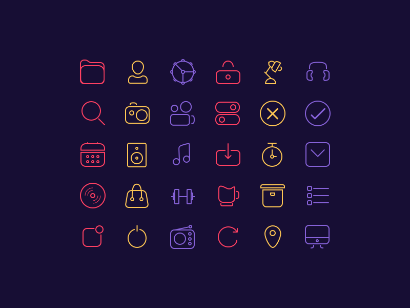 30 Line Icons For iOS UI Design