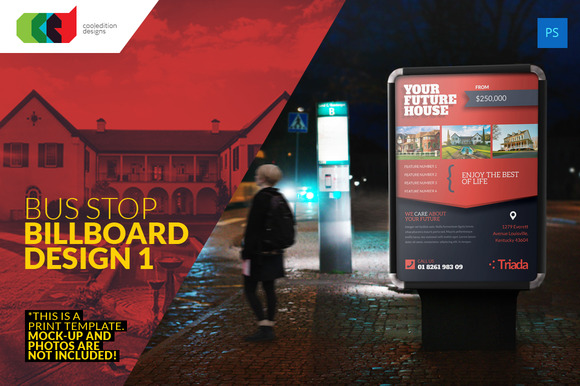 Bus Stop Billboard Print Template Design Free PSD