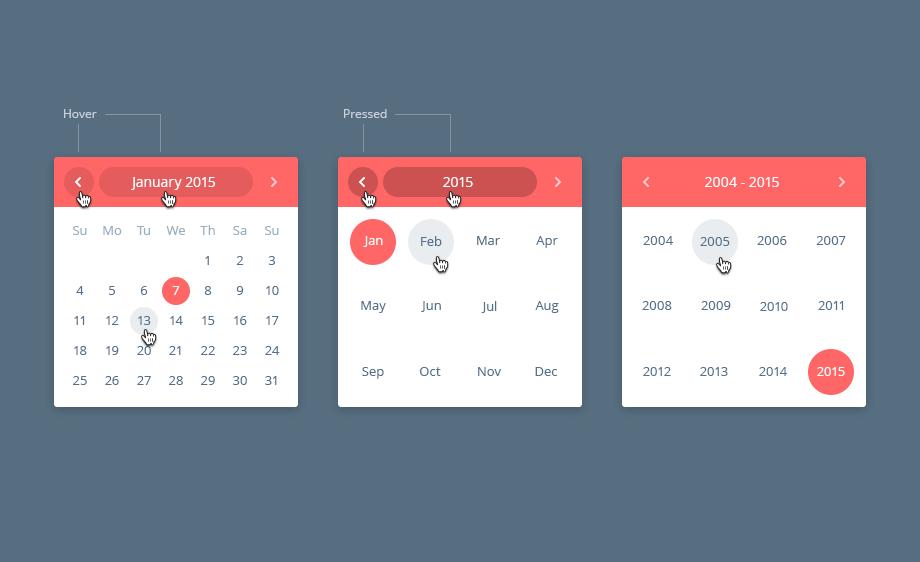 Calendar and Date Picker UI PSD