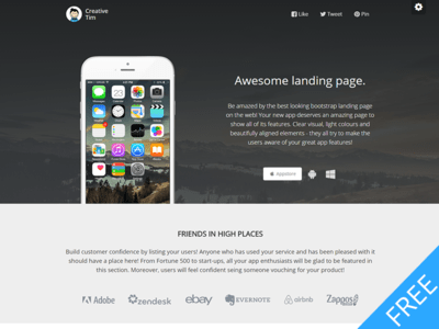 Free Bootstrap Awesome Landing Page