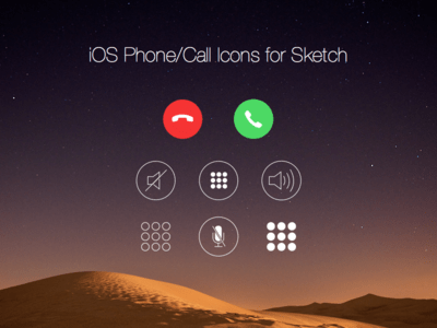 Free iOS Phone Call Icons for Sketch