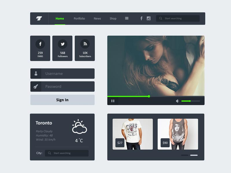 Freebie UI Kit PSD of Widgets & Header Navigation