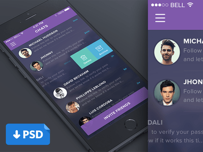 Mobile iOS Chat UI Design PSD