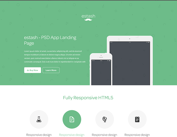 PSD Mobile App Landing Page Template Theme