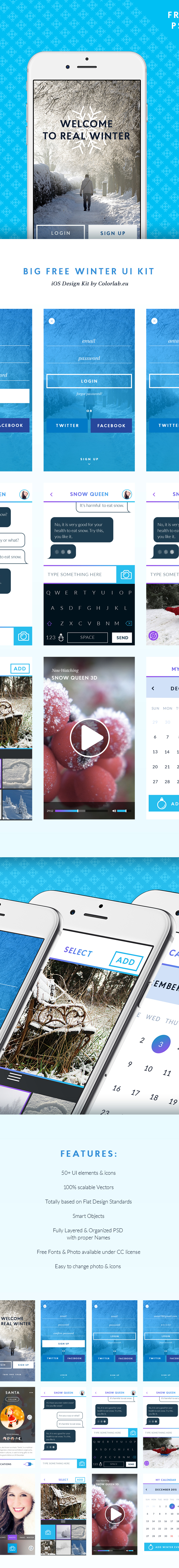 Retina Ready Flat Winter UI KIT PSD