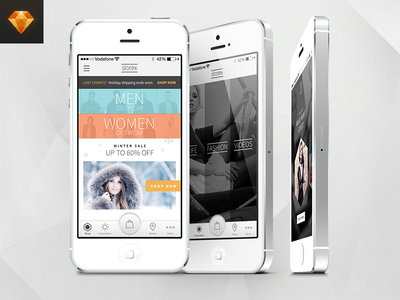 Shopping Application Template For iPhone Free Sketch