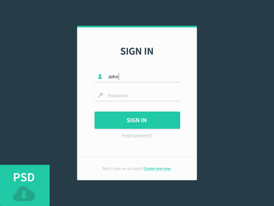 Sign In Free PSD