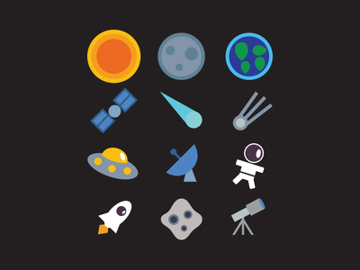 Vector Space Icon Set Free Download