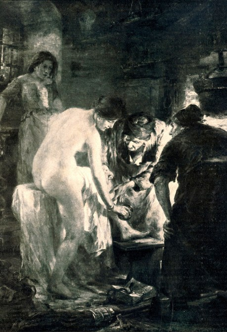 Witches applying lotions