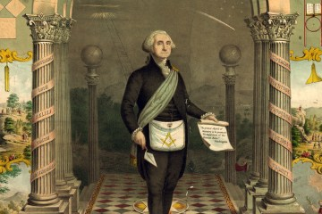 George Washington wearing Freemasonry apron
