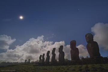 Moai on Easter Island observe the solar eclipse