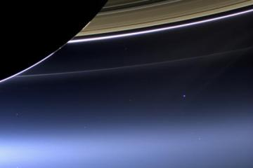 Saturn and Earth, as seen from Cassini