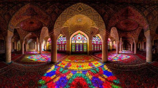 Pink Mosque Illuminated in the Colors of the Rainbow