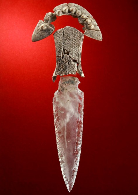 Prehistoric crystal dagger with original handle