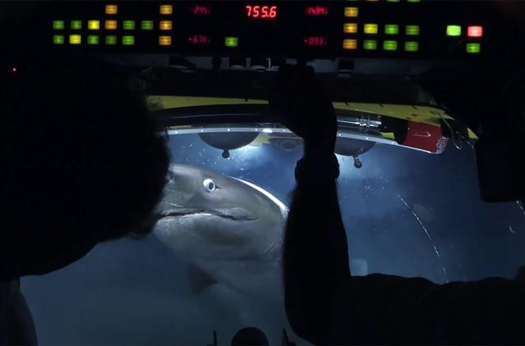 Monster sharks attack submarine