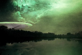 Image depicting a UFO/flying saucer over a river