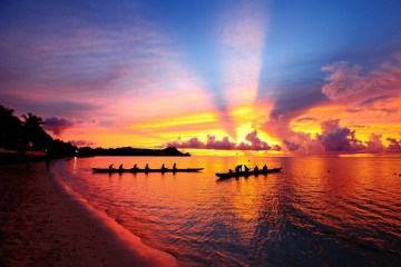 Canoes in the sunset