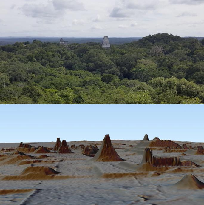 Photo vs LiDAR 3D map of Maya ruins