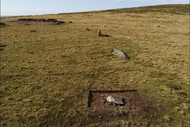 Remains of Waun Mawn stone circle in Wales