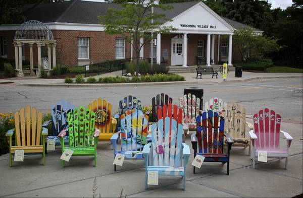 painted adirondack chairs swing chair kirkland wauconda storeowners use art project as downtown along main street in the by local