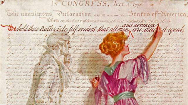 "An illustration of a woman adding the words ""and women"" to the declaration in the declaration of independence which ""all men are created equal, "" from Life magazine, illustrated by Paul C Stahr, published July 1, 1915"