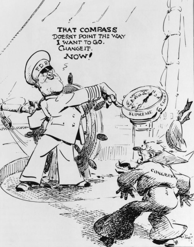 """Cartoon of President Franklin D. Roosevelt's 1937 Supreme Court packing plan and opposition to it, illustrated by JN """"Ding"""" Darling."""