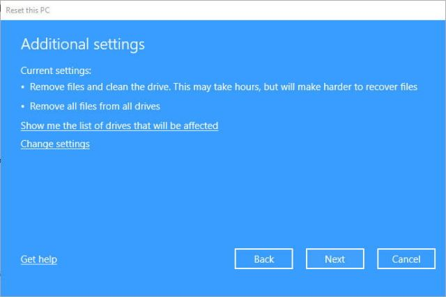 Reset Remove Files Addition Settings Drives Affected