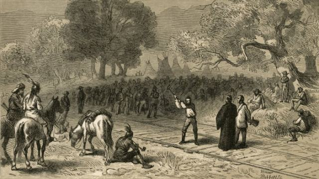The completion of the Transcontinental Railroad, originally the Pacific Railroad.  The Last Spike Ceremony, where the Eastern Trail was joined to its Western counterparts, took place in Promontory, Utah on May 10, 1869.