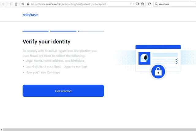 Image of Coinbase Verify Identity Page