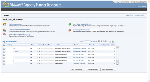 Capacity Planner 2.7 Dashboard