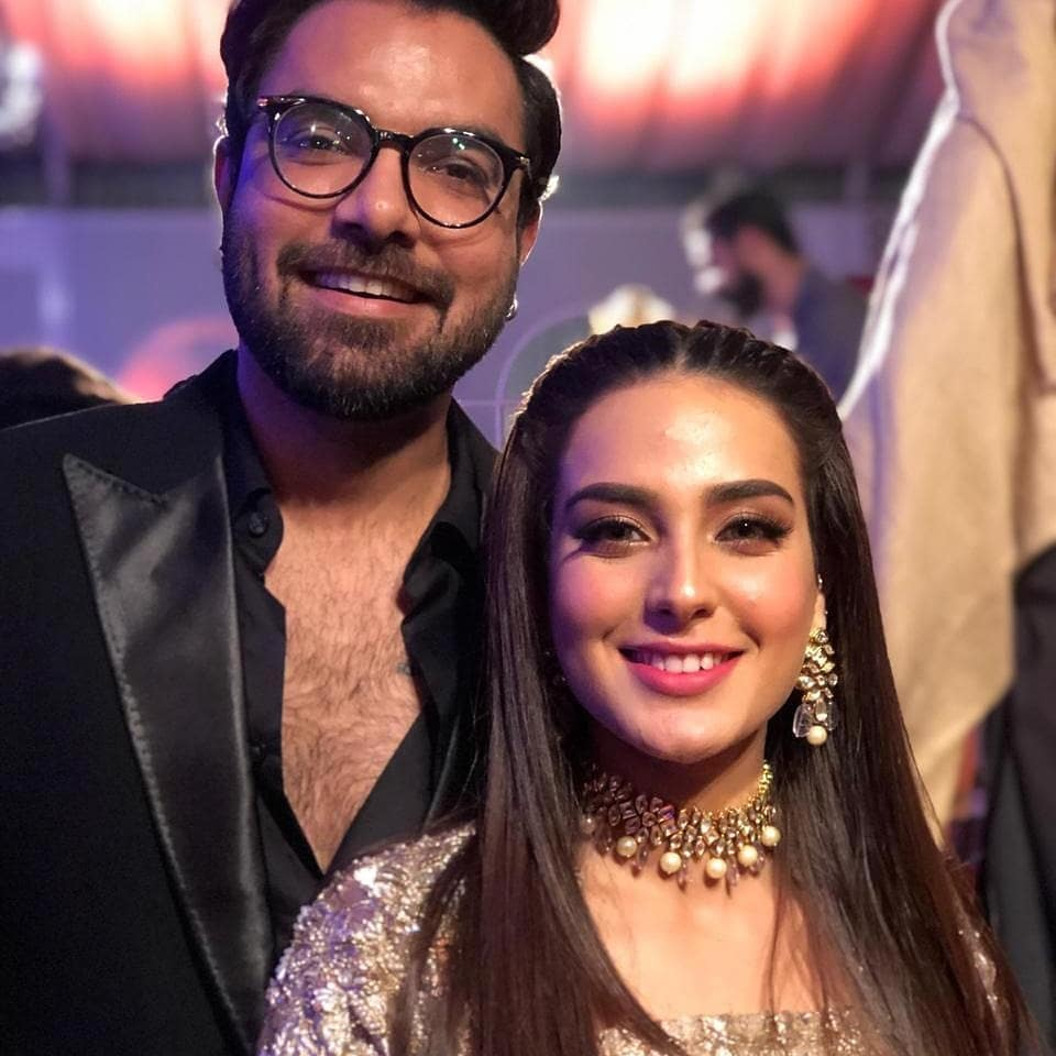 Iqra Aziz with Yasir Hussain at a Wedding Event