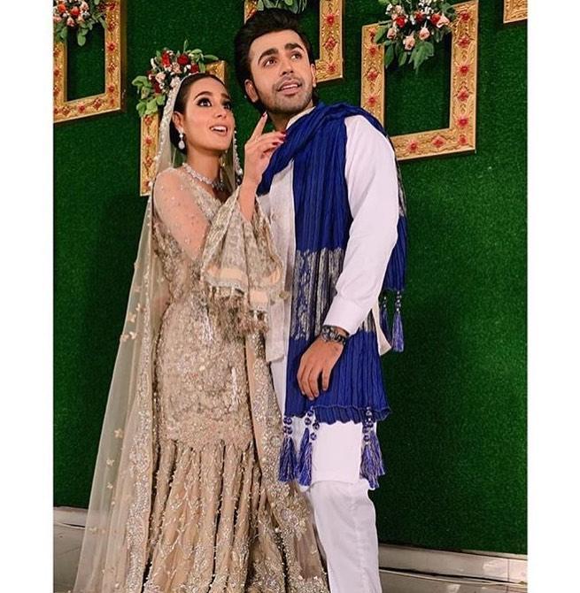 Awesome Walima Photoshoot of Iqra Aziz and Farhan Saeed on Set of Suno Chanda 2