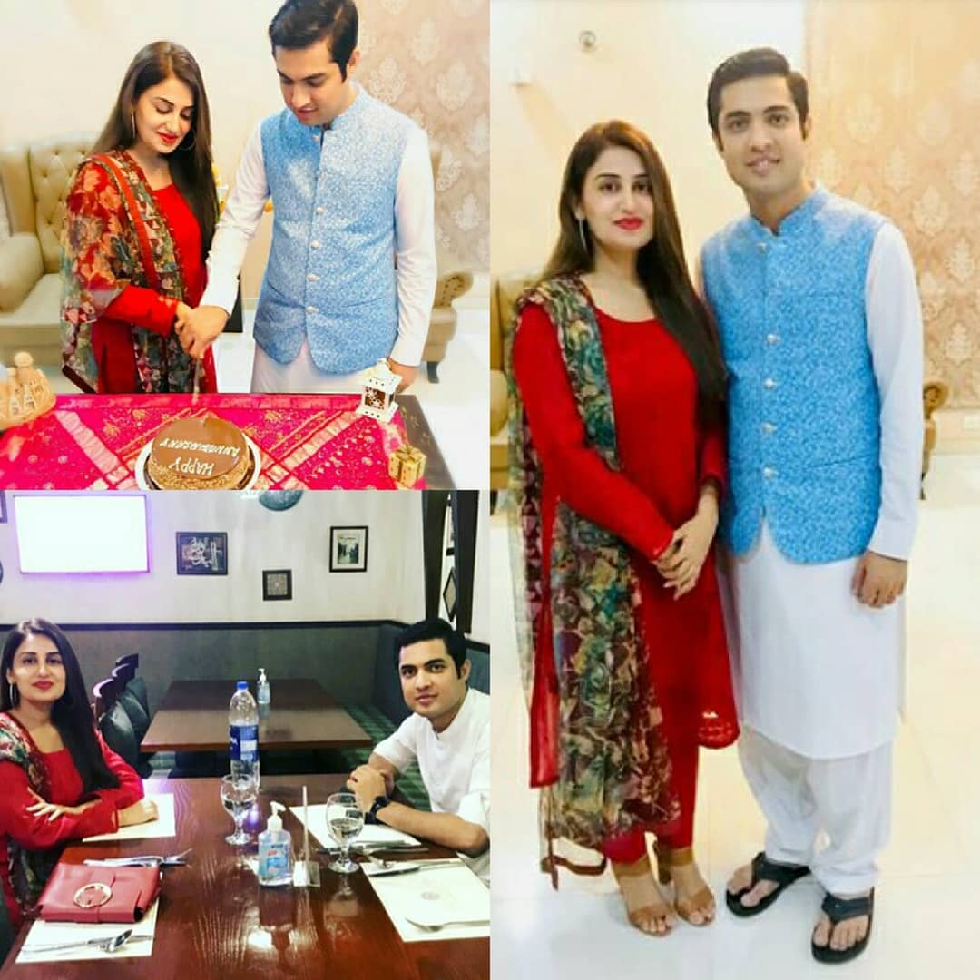 Iqrar ul Hassan with his Wife Farah Iqrar Celebrating their 7th Wedding Anniversary