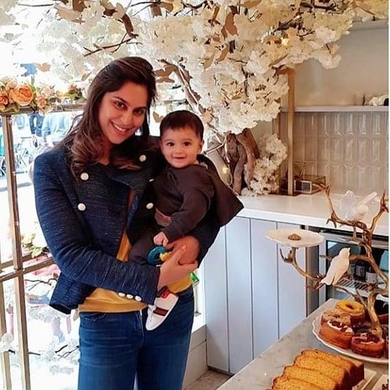 Tennis Player Sania Mirza with her Son Izhaan Mirza Malik
