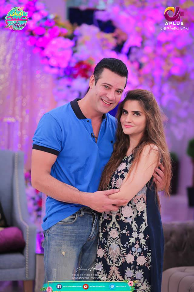 Moammar Rana with his Wife Spotted in Farah Morning Show