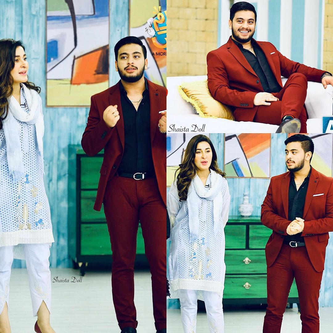 Dr Shaista Lodhi with her Son Shahfay in Faysal Qureshi Morning Show