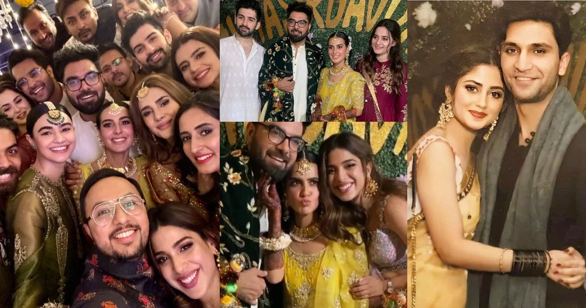 Celebrities Pictures from Mehndi of Iqra Aziz and Yasir Hussain