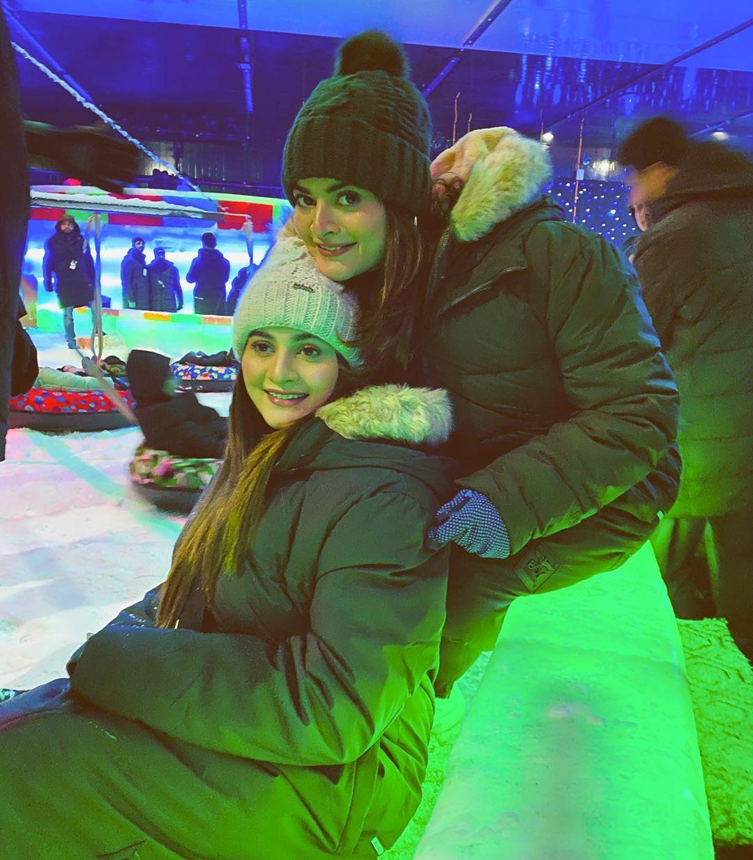 Minal, Aiman and Muneeb Butt Enjoying in Winter Land Karachi