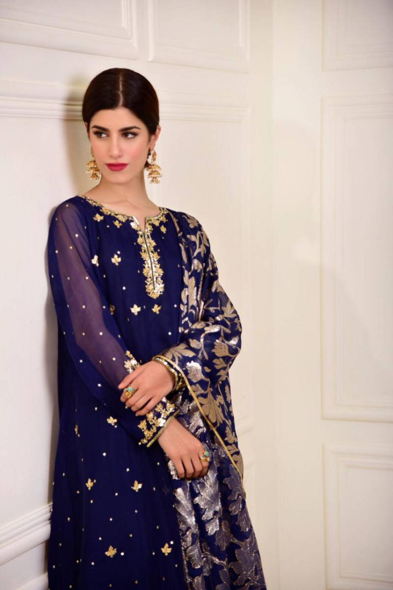 Designer Pakistani Embroidered Dress by Agha Noor