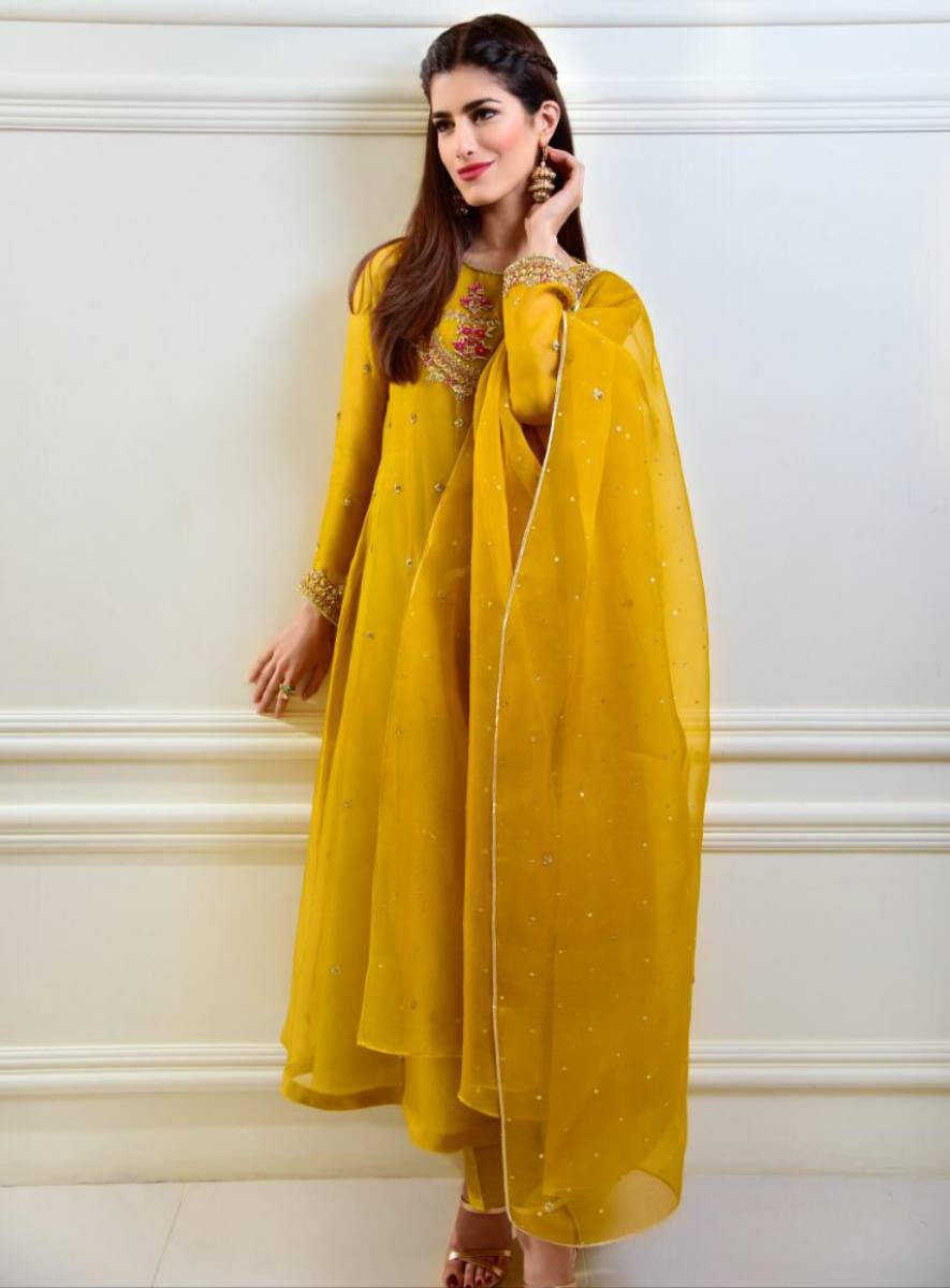 Yellow Mehndi Dress by Agha Noor USA