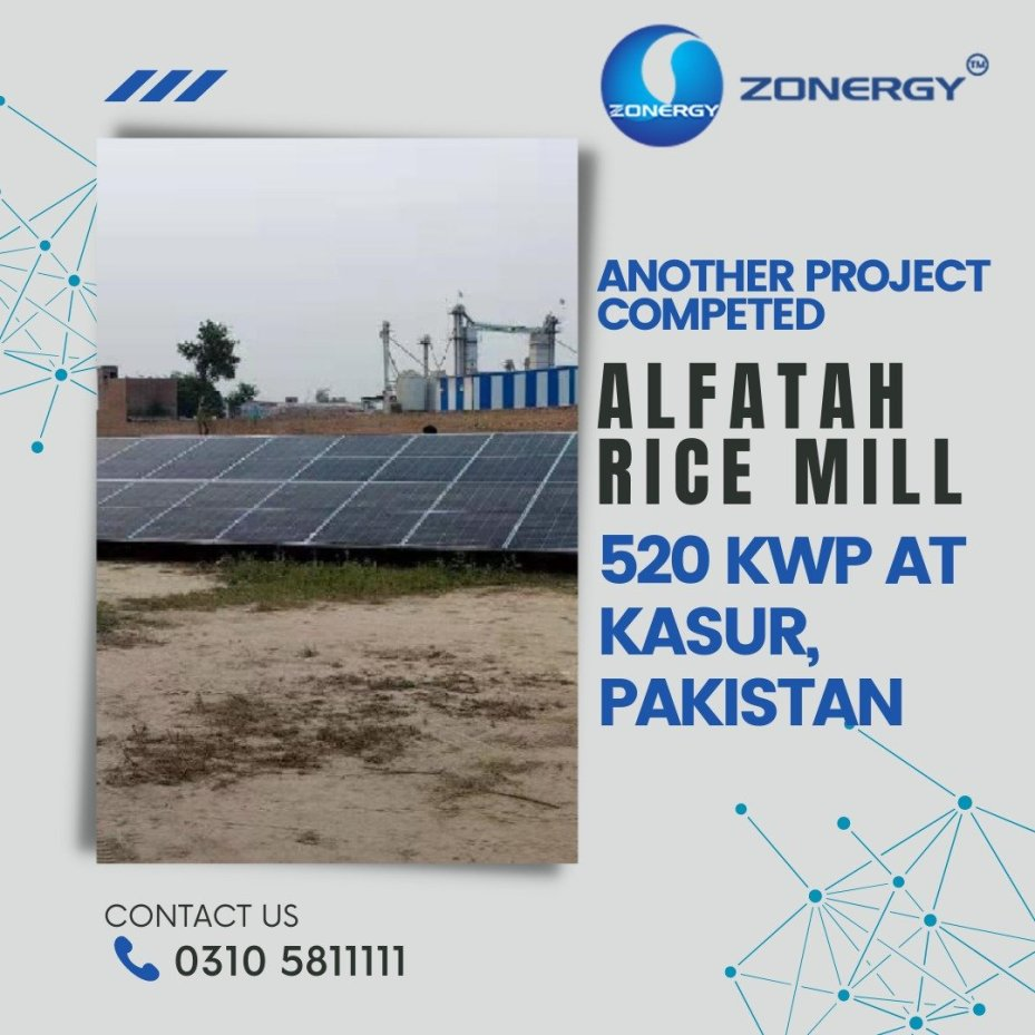 Zonergy completes the Installation of 520 KW Solar Panel System at Alfatah Rice Mill, Kasur