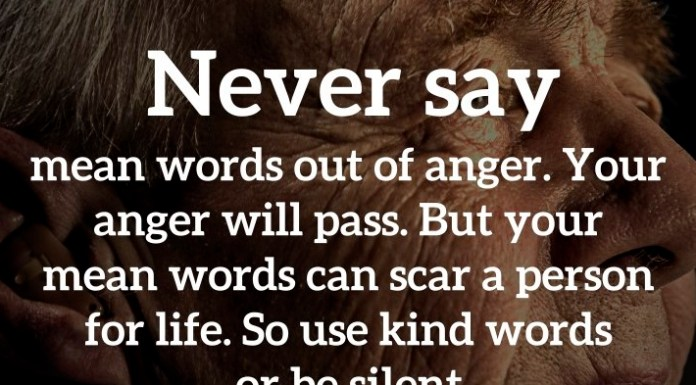 Never say mean words out of anger. Your anger will pass. But your mean words can scar a person for life. So use kind words or be silent.