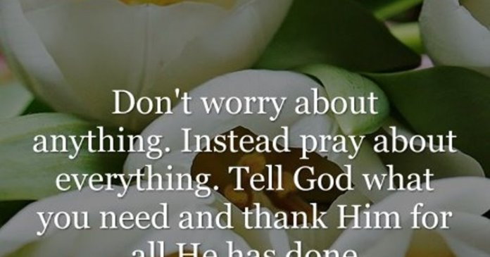 Don't worry about anything. Instead pray about everything. Tell God what you need and thank him for all he has done.